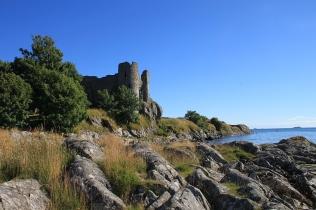 Castle Sween. Schwer zugängliches Bilderbuch-Schottland.