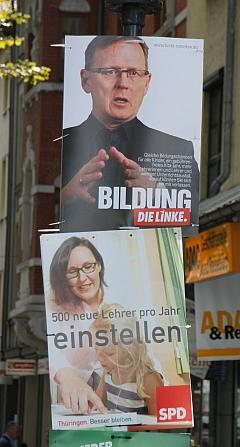 """Jena, Teichgraben. Von ferne gelesen scheint der Metatext """"Bildung einstellen"""" einen höheren Sinn zu haben."""