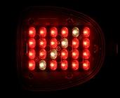einzelne Lampe von unten: 20 rote und vier weiße LED